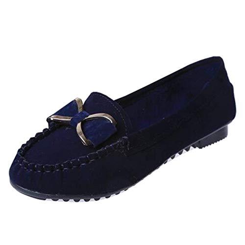 Taille Bleu Pour coloré Bleu Ronds 4 Bowknot Hhgold Femmes Plates Bouts Ballerines À Uk wnxORqF1vU
