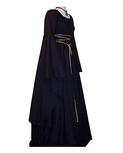 Medieval Maxi Vestido Renacimiento Mujer Señora De Vestido Vestido Largas Negro Mangas Gótico CtZwxZqA