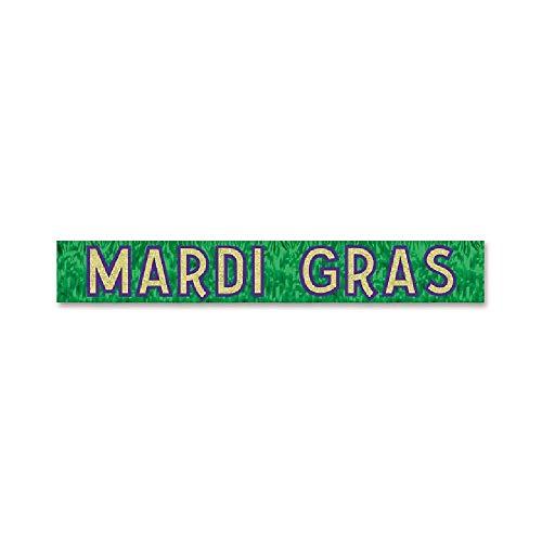 Metallic Mardi Gras Fringe Banner - Bargain World Metallic Mardi Gras Banner (with Sticky Notes)
