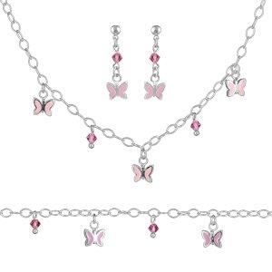 1001 Bijoux - Parure argent pampilles papillons roses et zirconias roses