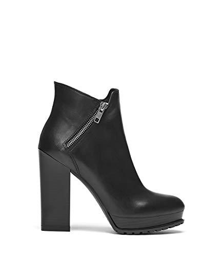 Emma Heel Schuhe Black Block Black Leather Smooth Boots High Damen Ankle Heel PoiLei YHq4w4