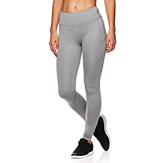 Reebok Women's Leggings Full Length Performance Compression Pants - Athletic Workout Leggings for Women for Gym & Sports - Grey Stone Heather, Small