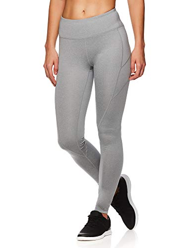 Reebok Women's Leggings Full Length Performance Compression Pants - Athletic Workout Leggings for Women for Gym & Sports - Grey Stone Heather, X-Large