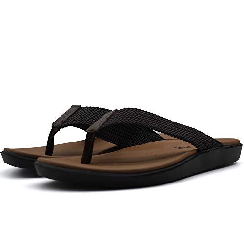 ONCAI Mens Sandals Flip Flops Athletic Cushion Footbed Waterproof Dark-Brown