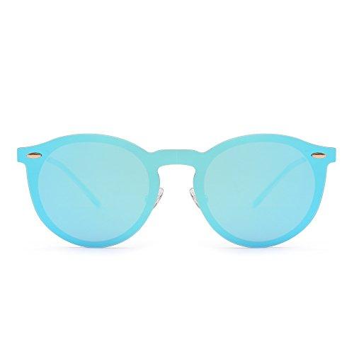 109624f841 Jim Halo Gafas de Sol Polarizadas Sin Montura Una Pieza Reflexivo Redondas Espejo  Anteojos Hombre Mujer