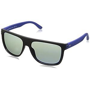 Tommy Hilfiger Th1277s Rectangular Sunglasses, Black Blue/Gray Mirror, 57 mm