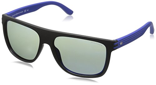 Tommy Hilfiger Th1277s Rectangular Sunglasses, Black Blue/Gray Mirror, 57 mm