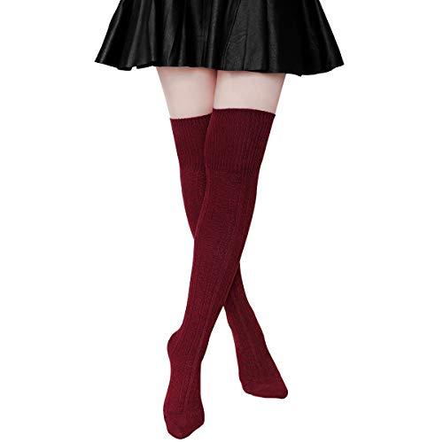 Gorgeous Women Knee High Socks - Hippih Womens Winter Over Knee Leg Warmer Crochet Thigh High Boot Socks Girls Leggings(Red wine)