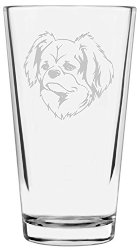 Tibetan Spaniel Dog Themed Etched All Purpose 16oz Libbey Pint Glass