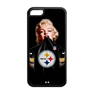 iPhone 5C Case - Marilyn Monroe in NFL Pittsburgh Steelers black Jersey Apple iPhone 5C (Cheap IPhone 5) Waterproof TPU Back Cases Covers by mcsharks