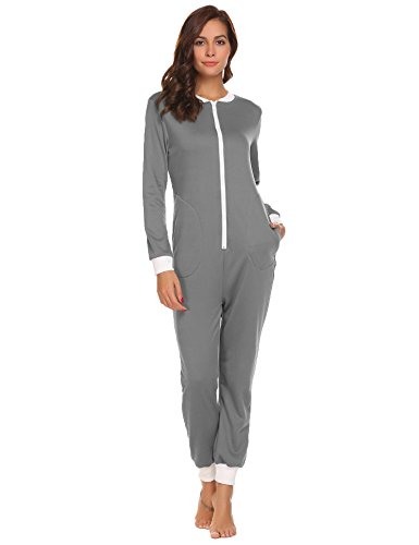 Ekouaer Women痴 Jumpsuit One Piece Non Footed Pajama Playsuit (Grey, XL)