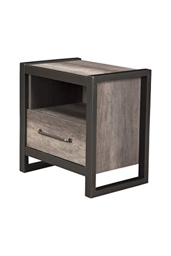 Alpine Furniture 1655-02 Nightstand, 1 Drawer, Grey-Black ()