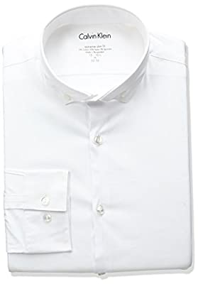 Calvin Klein Men's Stretch Xtra Slim Fit Solid Buttondown Collar Dress Shirt