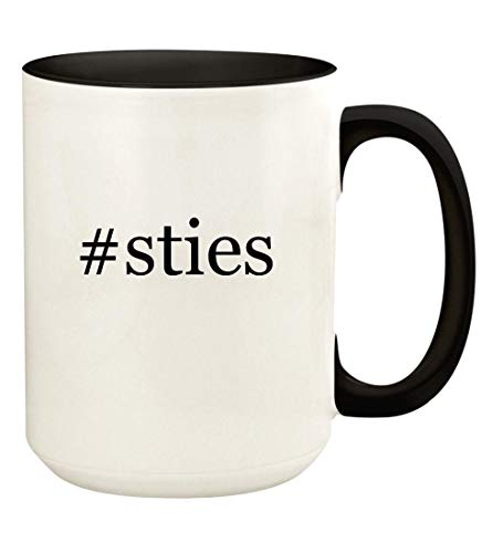 #sties - 15oz Hashtag Ceramic Colored Handle and Inside Coffee Mug Cup, Black