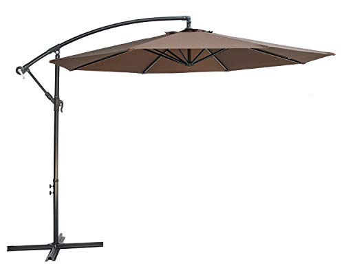 SUNBRANO 10 Ft Cantilever Offset Patio Umbrella Outdoor Aluminum Hanging Umbrella Crank Air Vent, 8 Ribs, Coffee