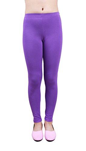 IRELIA Girls Modal Solid Active Leggings Purple S