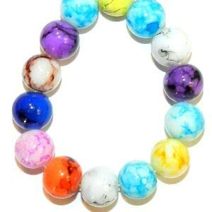 (Steven_store G4222 Assorted Color Marbled Finish 10mm Round Glass Beads 16