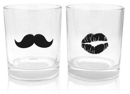 (2-Pc. Mustache & Lips Double Old-Fashioned Glasses Set)