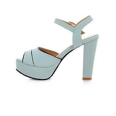 LvYuan Mujer Sandalias Zapatos formales Semicuero Primavera Verano Boda Vestido Fiesta y Noche Zapatos formales Tacón Robusto Blanco Azul Rosa12 Blue