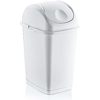 13 gallon mini slim trash can white