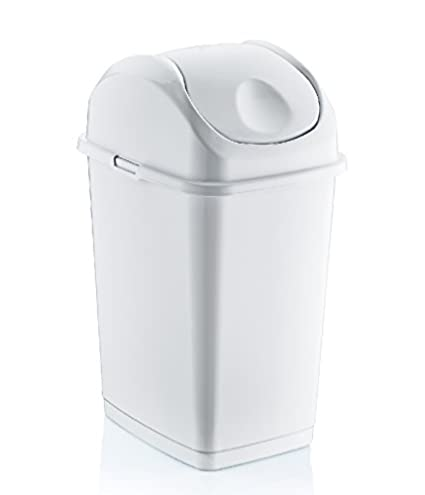 Bon 5 QT Gallon Mini Slim Trash Can (white)