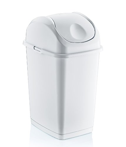 2.6 Gallon Small Slim Trash Can (White)
