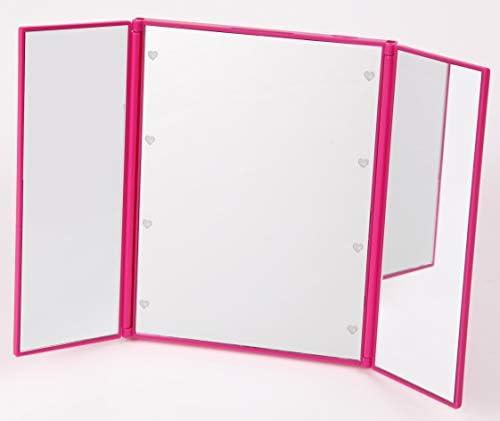 化粧鏡 折り畳み (LED付き三面鏡, ピンク)