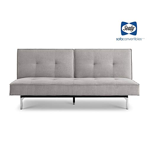 (Sealy Anson Transitional Split-Back Convertible Microfiber Sofa in Gray)