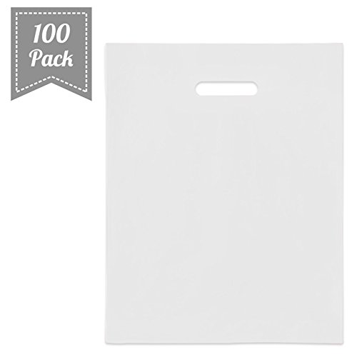 "[ 100 Count, 12"" X 15"" ] Extra Durable Glossy White Merchandise Bags, Premium Plastic Retail, Gift, Party, Shopping Bags - PackItChic"