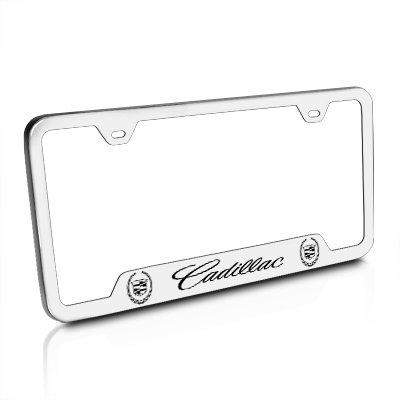 Brushed Laser - Au-Tomotive Gold, INC. Cadillac Logo Brushed Stainless Steel License Plate Frame, Silver, 12