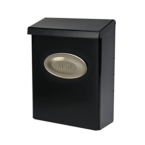 Gibraltar Mailboxes Designer Locking Medium Capacity Galvanized Steel Black, Wall-Mount Mailbox, -