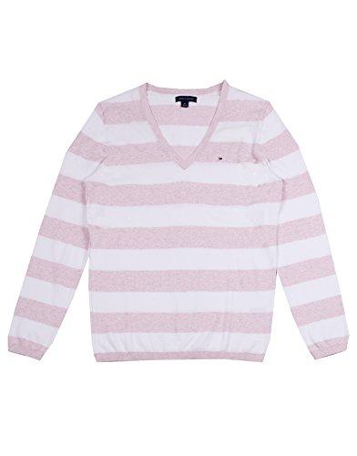 Tommy Hilfiger Nylon Sweater - Tommy Hilfiger Women's V-Neck Stripe Sweater (L, Pink/White)