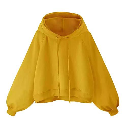 Aniywn Women's Girls Lantern Sleeve Hooded Sweatshirt Large Size Loose Drawstring Solid Hoodie Pullover Top Yellow (Nine West Uk-shops)