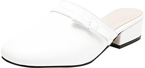 Calaier Womens Cafantastic Fermé-orteil 4cm Bloc Talon Slip-on Mule Chaussures Blanc