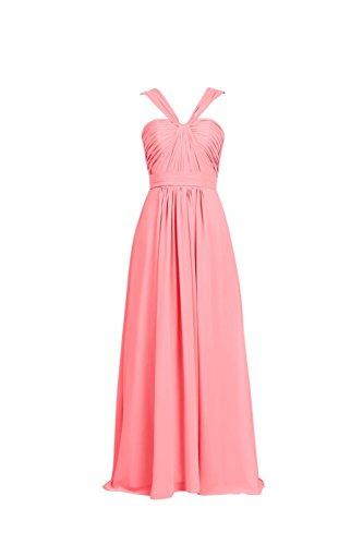 YiYaDawn Langes Partykleid Ballkleid Abendkleid für Damen Koralle ...