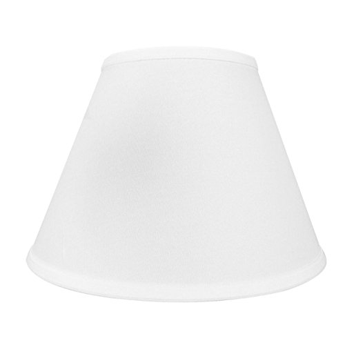 6x12x9 Empire Hardback Lampshade Box Pleat White Shantung Dual Edison Clip By Home Concept - Perfect for small table lamps, desk lamps, and accent lights -Medium, White - Edison Clip