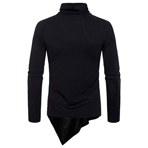 Sunhusing Men's Casual Solid Color Hooded High Collar Oblique Hem Side Pocket Slim Top