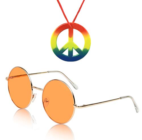Hippy Hippie Costume Set Sunglasses Women Men Peace Sign Necklace Accessories