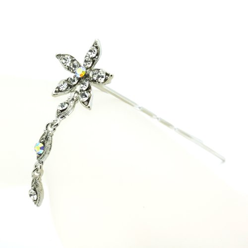 DoubleAccent Hair Jewelry Simulated Crystal Flower Dangle Bun Stick, White