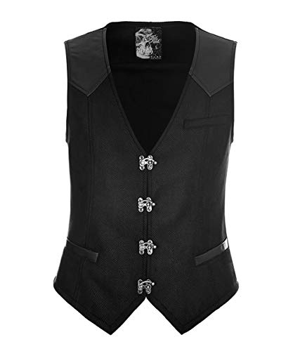 Punk Rave Mens Steampunk Vest Gothic Victorian Waistcoat V Neck Slim Fit Single Breasted Paisley Dress Vest Black