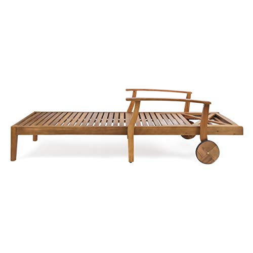 Great Deal Furniture Thalia Outdoor Teak Finished Acacia Wood Chaise Lounge (Set of 2) by Great Deal Furniture (Image #8)