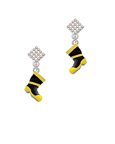 Black Diamond Fire Boots - Silvertone Black and Yellow Firefighter Boot - AB Lulu Diamond-Shaped Earrings