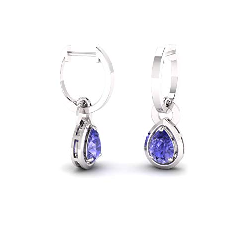 Diamondere Natural and Certified Tanzanite Drop Earrings in 14K White Gold | 0.64 Carat Earrings for Women