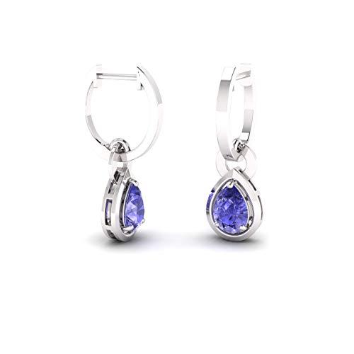 (Diamondere Natural and Certified Tanzanite Drop Earrings in 14K White Gold | 0.64 Carat Earrings for Women)