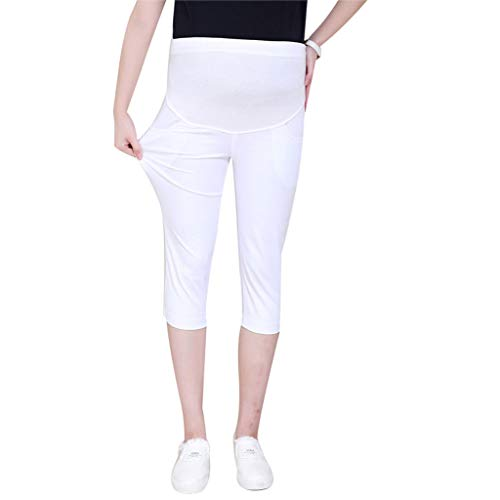 Maternity Women's Lounge Pants Stretch High Waist Pregnancy All Day Comfort Bi-Stretch Belly Straight Leg Pant White]()