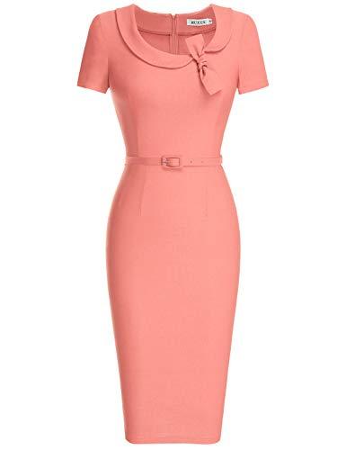 (MUXXN Women's Short Sleeve Tea Length Wedding Midi Dress (Peach XXL))