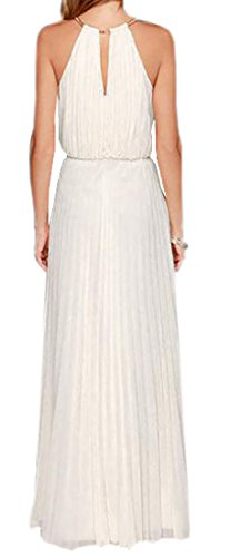 Maxi Sleeveless Chiffon Dress Dress White Womens Evening Long Prom Domple Solid Party qSwXtpxpH