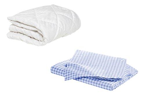 Blue Gingham Crib Bedding - BKB Porta Crib Mattress Protector and 2 Gingham Sheets, Light Blue