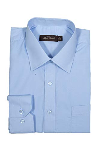Alberto Danelli Men's Solid Long Sleeve Dress Shirt Sky Blue, XXX-Large / 19-19.5