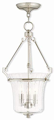Livex Lighting 50924-35 Cortland - Three Light Pendant, Polished Nickel Finish with Fluted Clear Glass ()